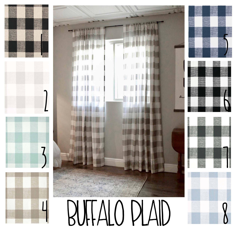 Plaid Curtains Buffalo Plaid Free Shipping 2 Curtain Panels