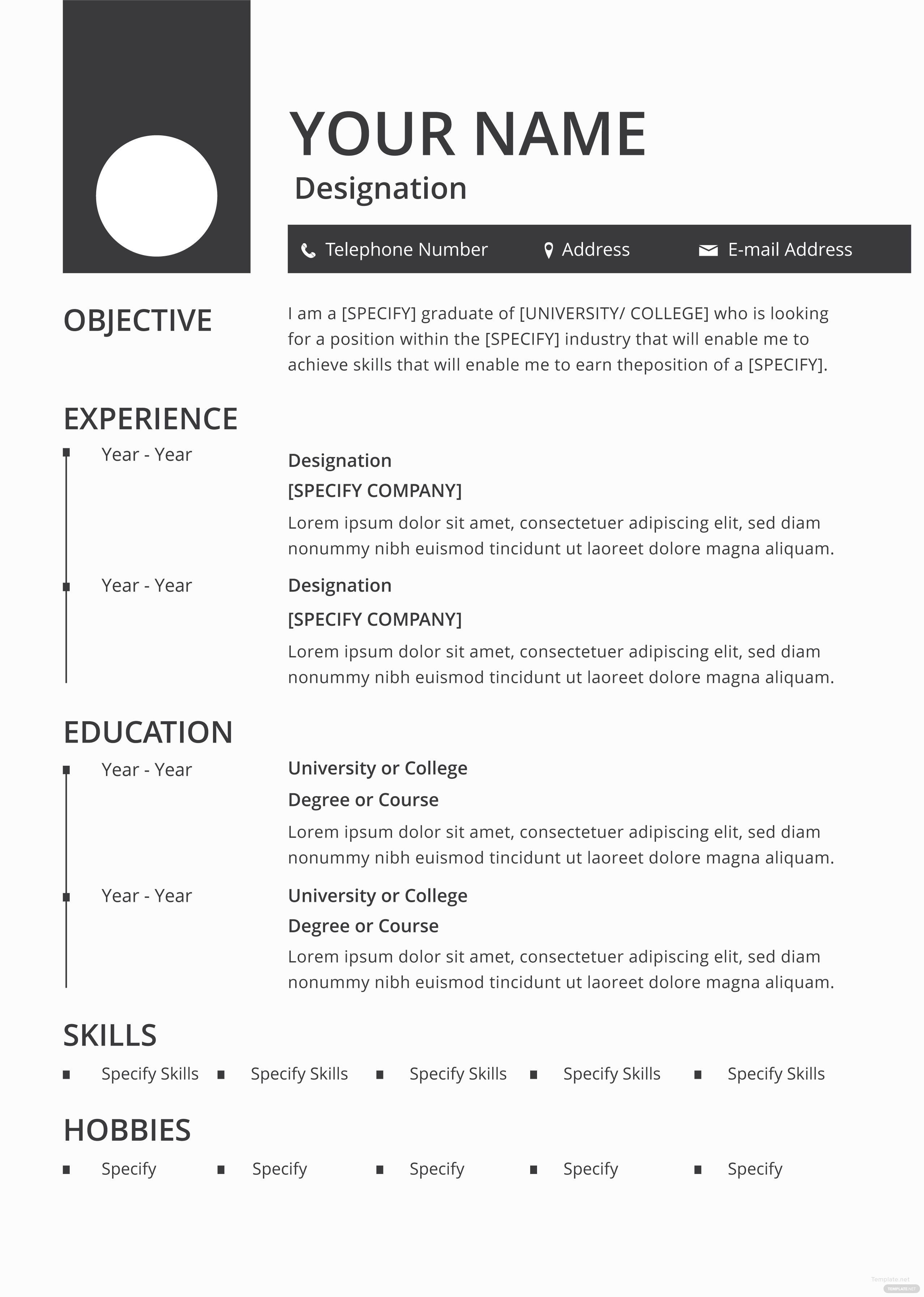 Free Blank Resume And Cv Template In Adobe Photoshop Microsoft