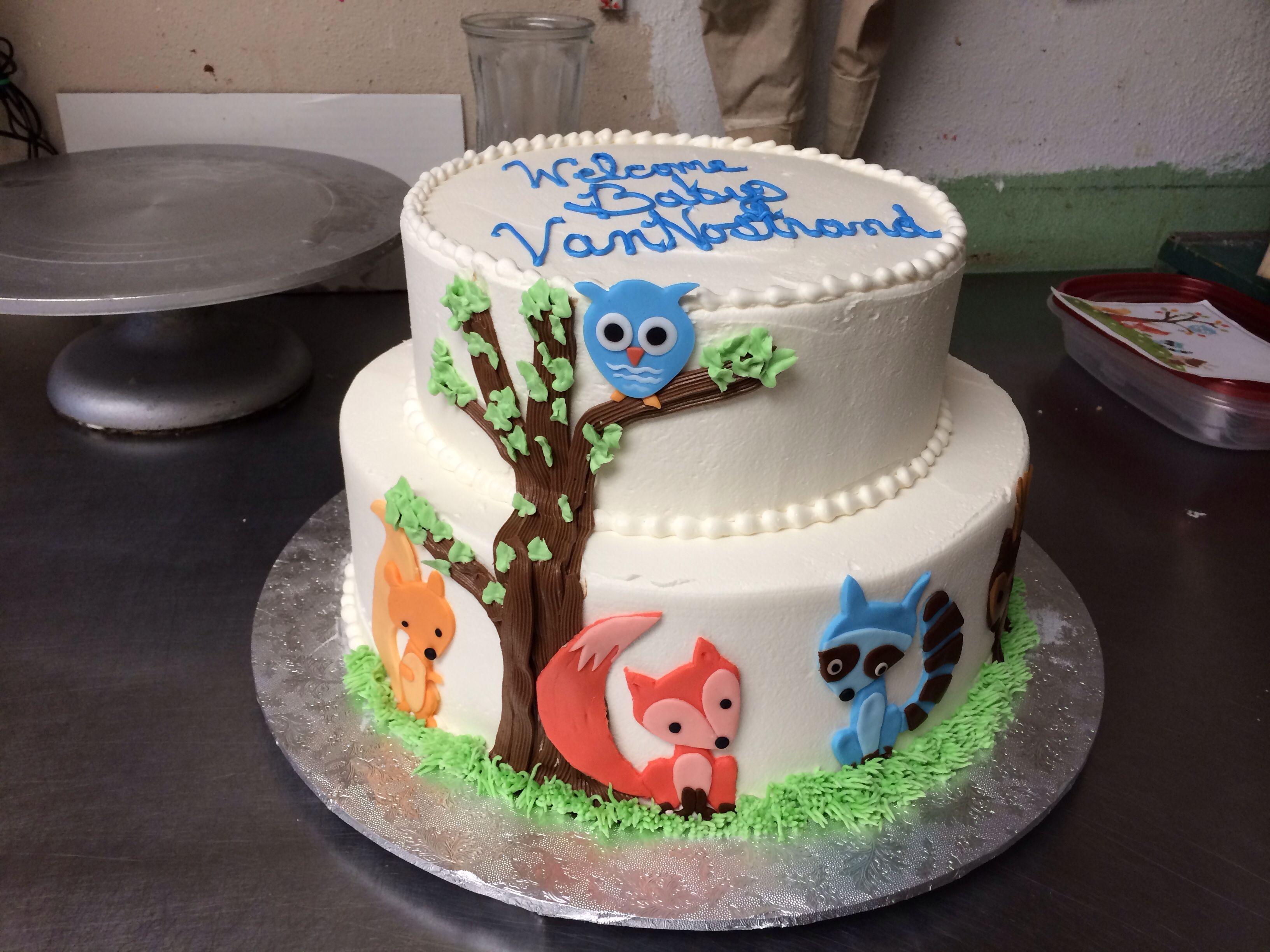 Woodland baby shower cake Kid party ideas Pinterest