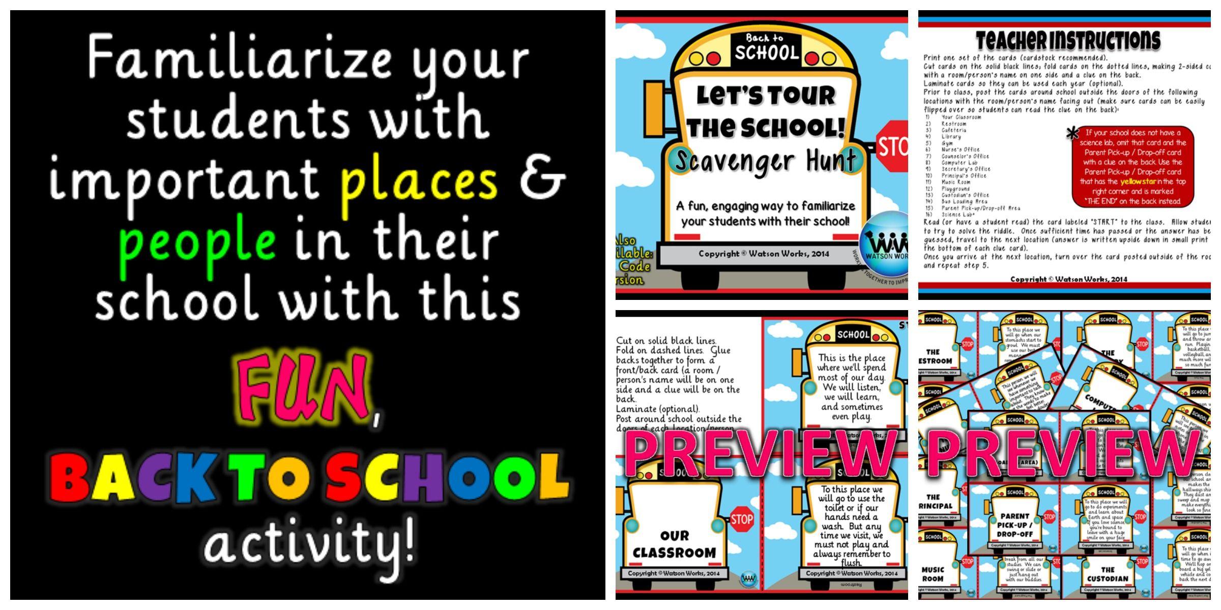 Let S Tour The School Scavenger Hunt A Back To School Activity