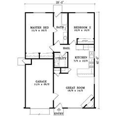 Ranch Style House Plan 2 Beds 1 Baths 921 Sq Ft Plan 1 163