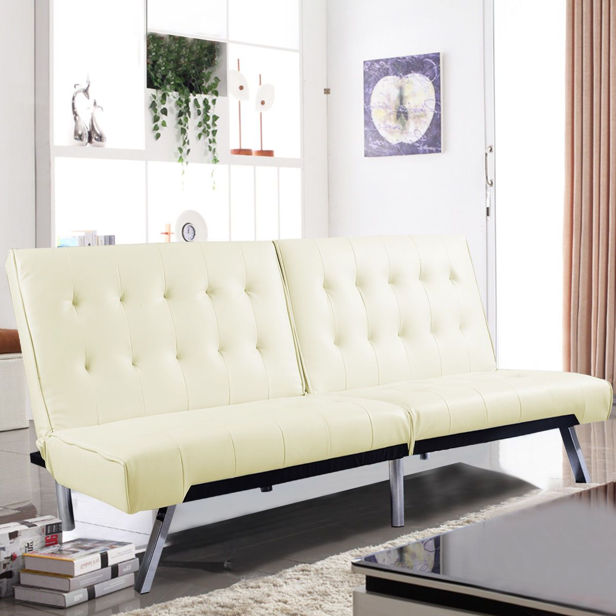 COSTWAY Splitback Futon Sofa Bed Sleeper Couch Living Room Lounger