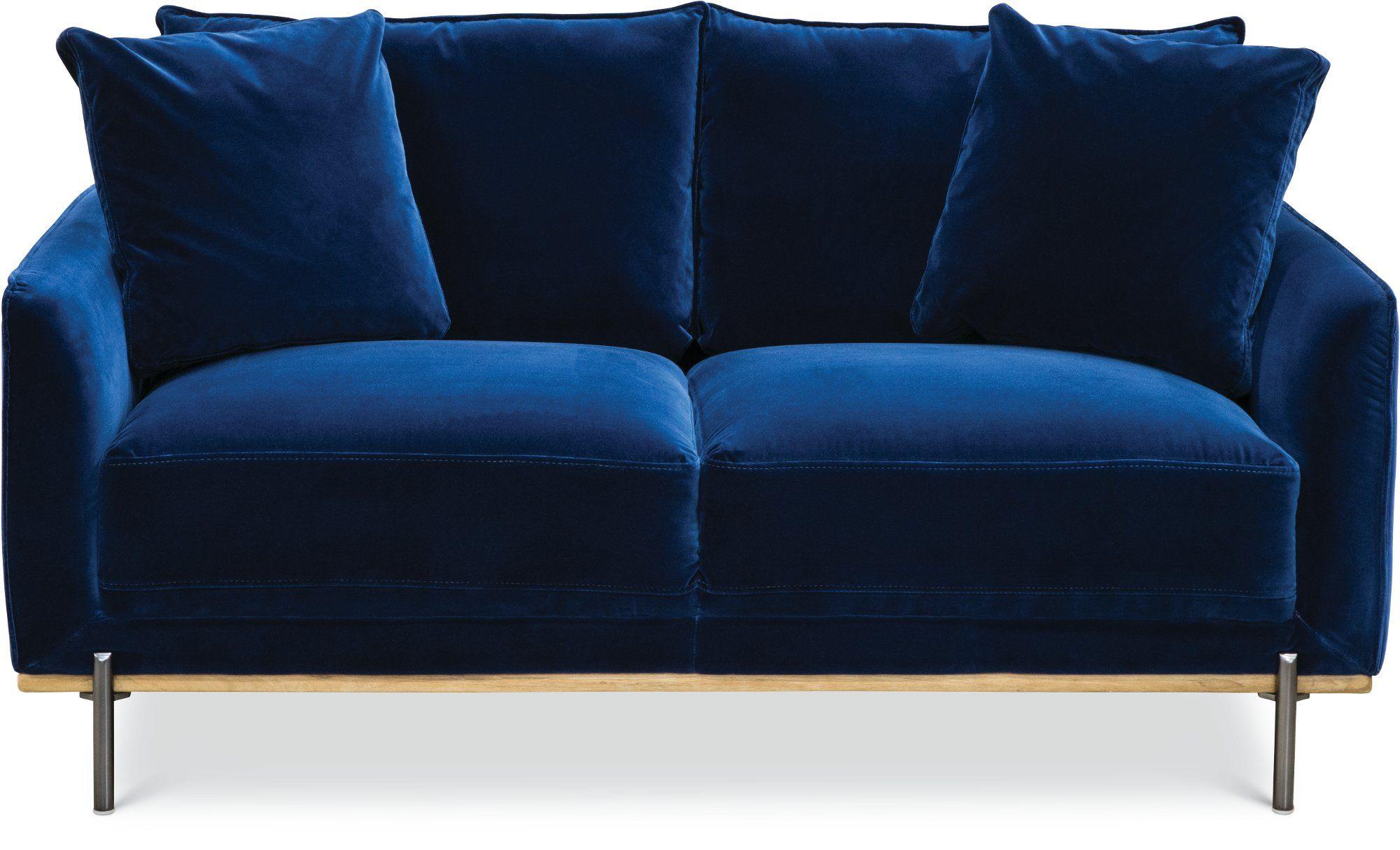 Modern Royal Blue Velvet Loveseat Marseille Blue Velvet Sofa