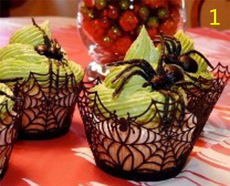 5style for choose 12pcs bat spider cupcake wrappers cake cupcake halloween decoration hollween party favor supplies - Halloween Decorations Cupcakes