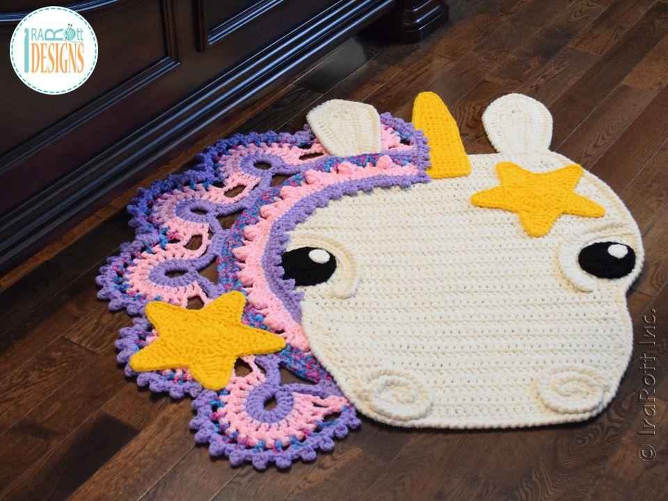 Sophia The Starry Unicorn Rug Pdf Crochet Pattern Crochet Unicorn Crochet Rug Patterns Crochet Rug