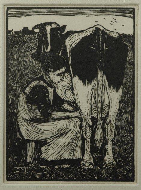 Jan Mankes (Meppel 1889-1920 Eerbeek) Koemelkster - Kunsthandel Simonis en Buunk, Ede (Nederland).