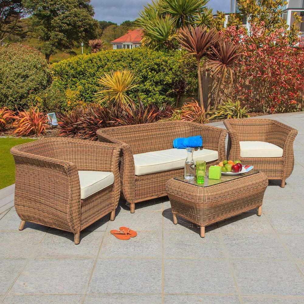 4 Seater Garden Rattan Lounge Set Aluminum Frame Glass Table Outdoor ...