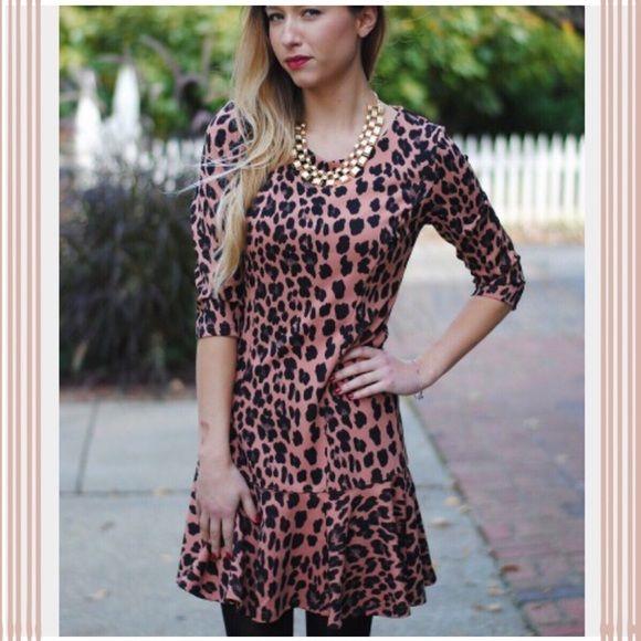 NWOT Animal Print Dropwaist Vestique Dress