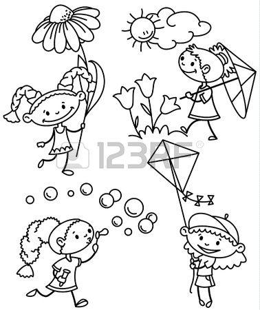 Set met schattig meisje caractesr schets versie Stockfoto
