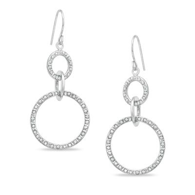 Zales Diamond Fascination Infinity Loop Drop Earrings in Sterling Silver with Platinum Plating e4iv6S88