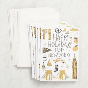 Spread holiday cheer to and from the Big Apple!  Message inside: Have a joyful season. Made in the USA. <br><br>Size - 4.75 X 6.5 <br><br> 6 - A6 folded cards (4.5 x 6.25) <br> 6 - white envelop