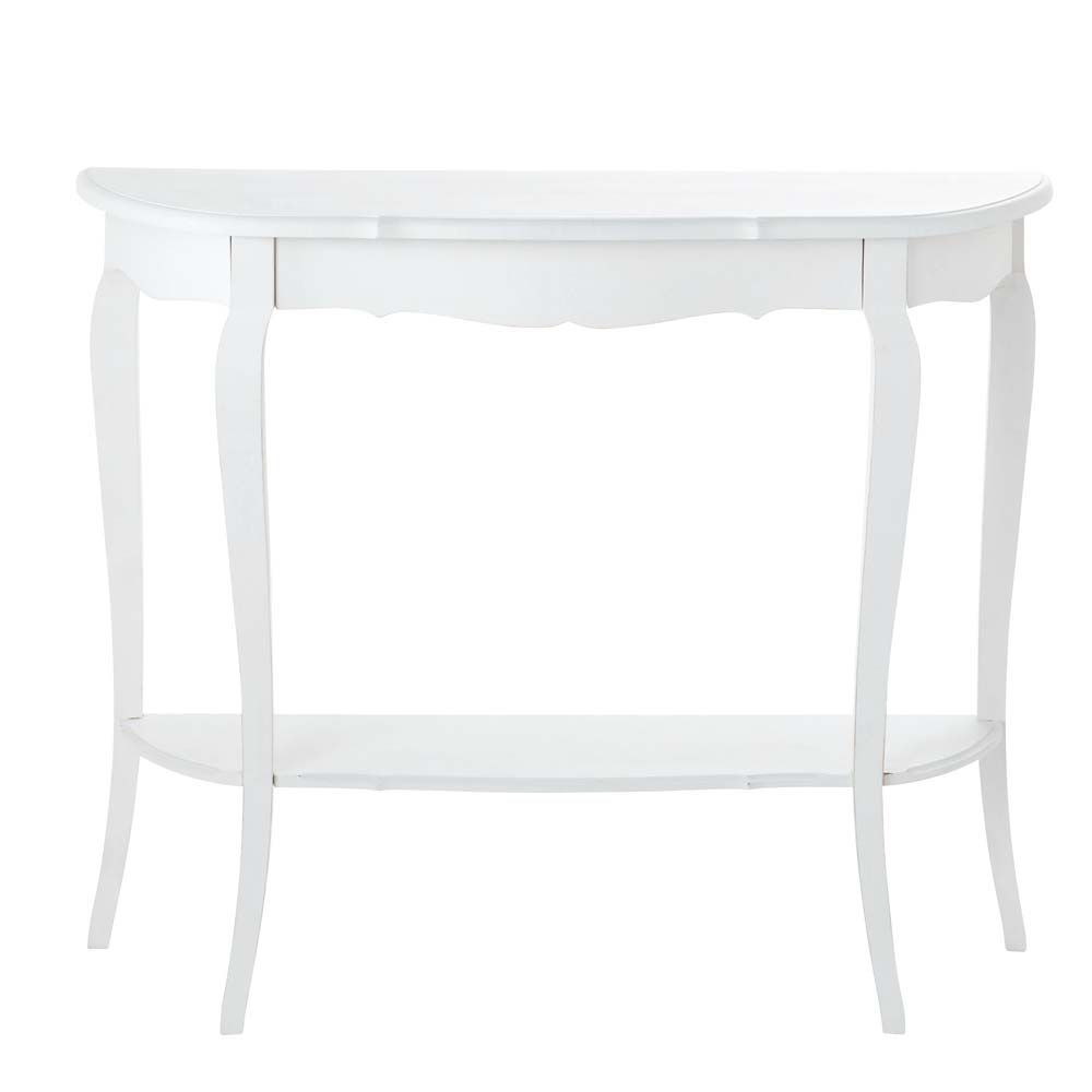 table console en bois blanche l 94 cm s raphine mobilier. Black Bedroom Furniture Sets. Home Design Ideas
