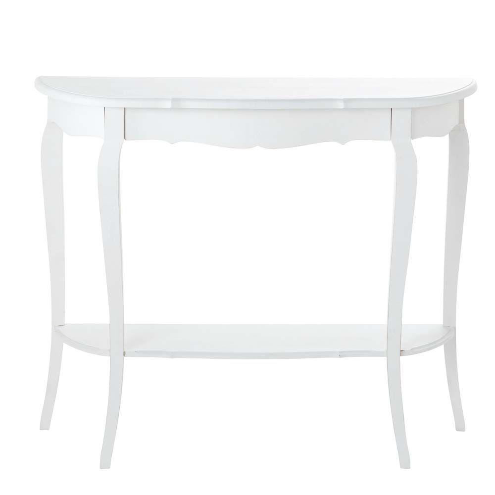 Table console en bois blanche L 94 cm | Bois blanc, En bois et ...