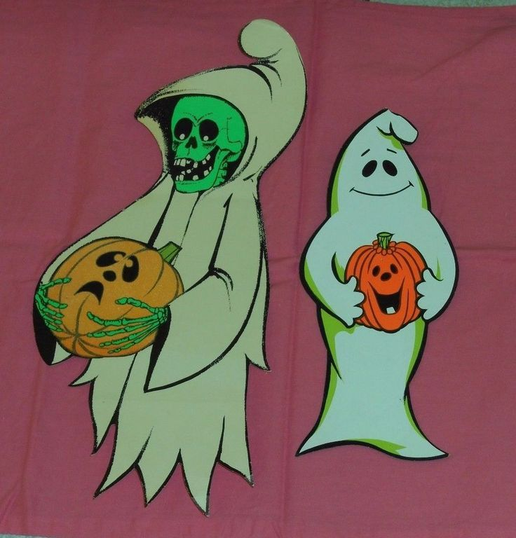 Vintage Lot Of 2 HALLOWEEN DECORATIONS Flocked Shrouded Skeleton Ghost Pumpkin