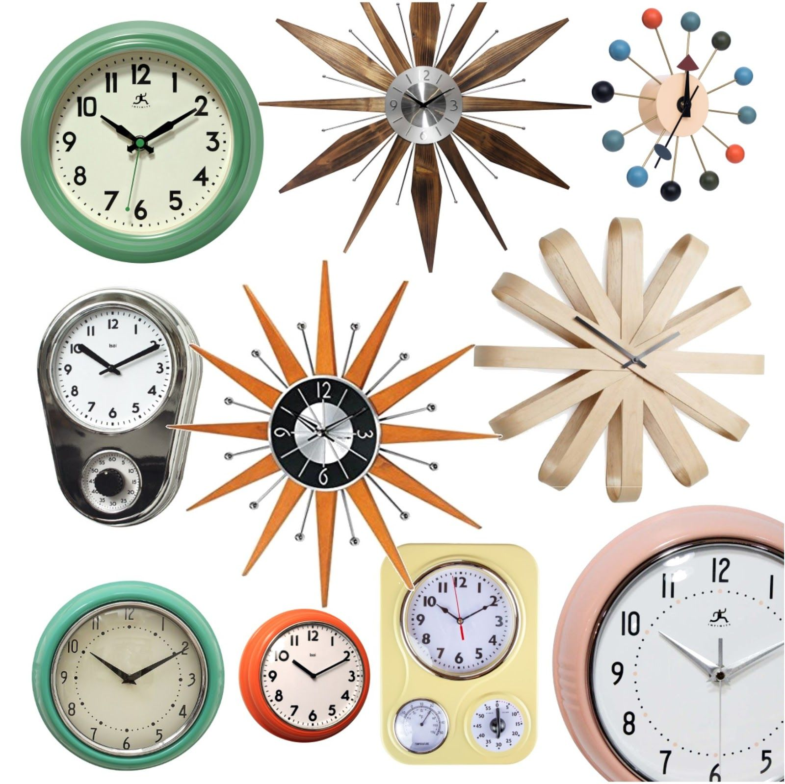 Sources For Affordable Retro Mid Century Inspired Wall Clocks Sew At Home Mummy Mid Century Modern Clocks Retro Wall Clock Retro Home Decor