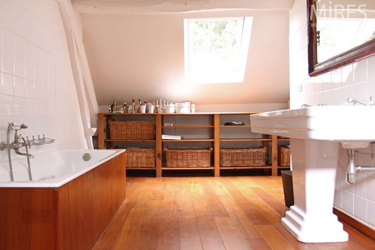 C0613-bois salle de bain Pinterest Salle de bains, Salle et Bois - Pose Beton Cellulaire Exterieur