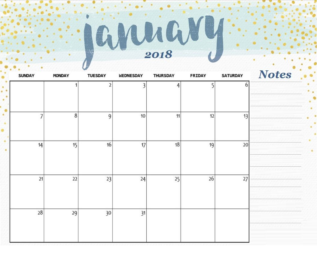free printable january 2018 desk calendar