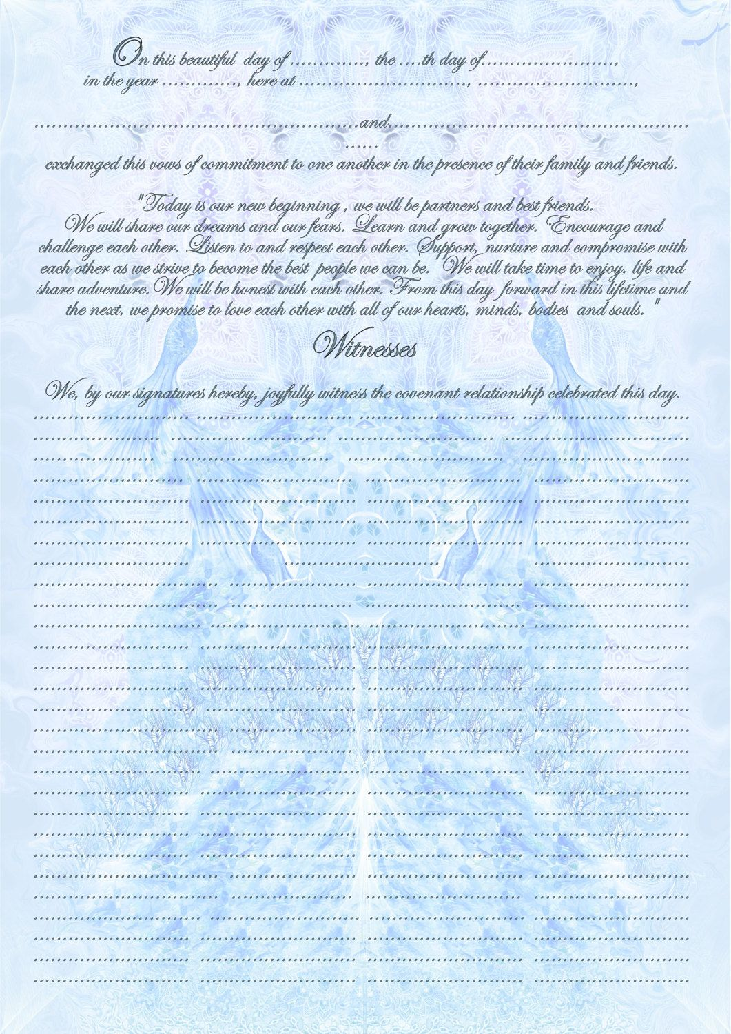 printable pdf- Quaker marriage certificate to fill - 12x17\
