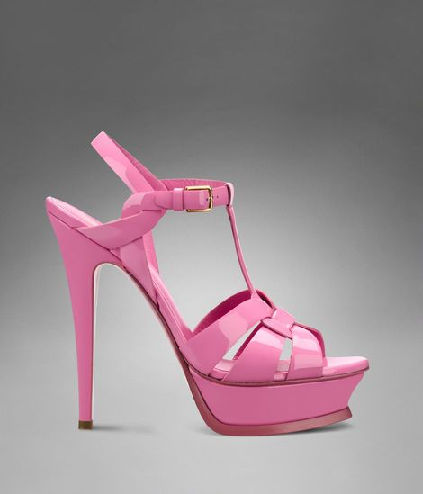 9f330d293c Bright bubblegum pink; a perfect color in time for summer. This is the new  favorite item on my wish list. YSL Tribute High Heel Sandal in Petal Pink  Patent ...