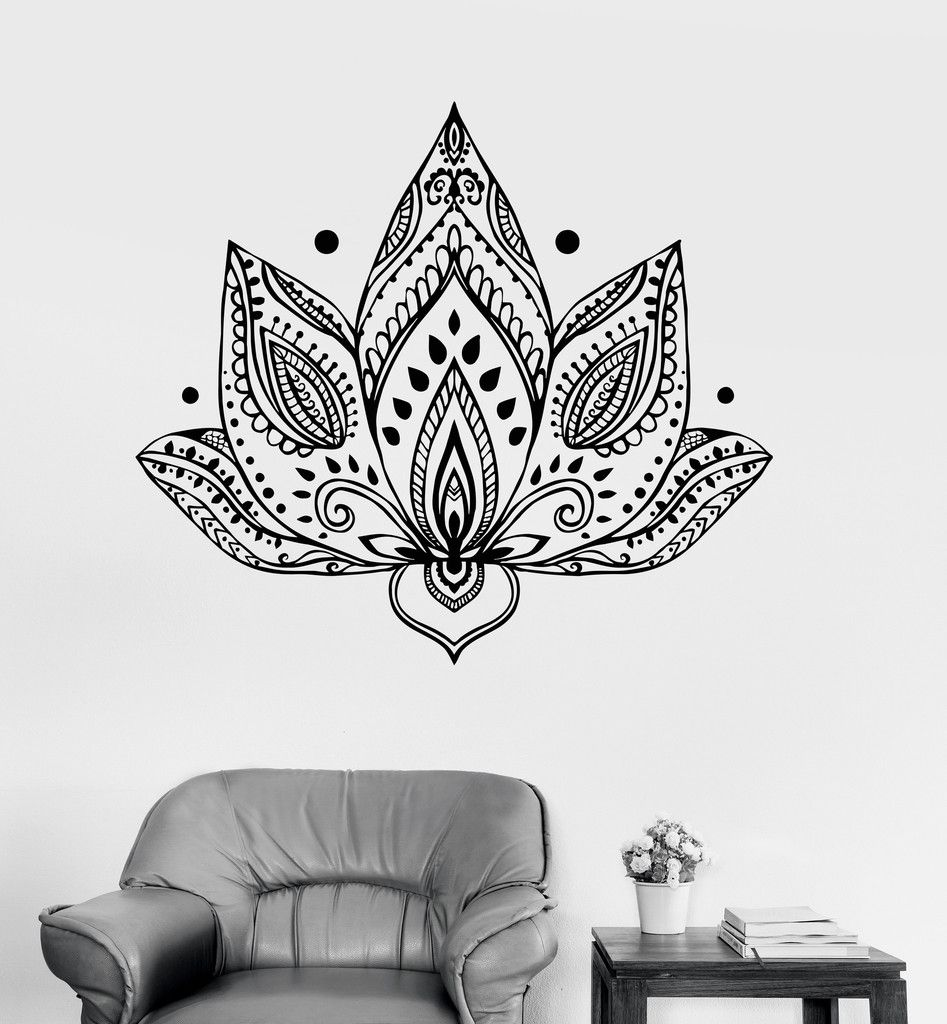 Vinyl wall decal lotus flower patterns yoga buddhism bedroom