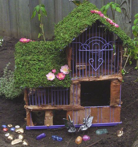 Something A Little Different   Fairy House Using Parts Of A Bird Cage?  Posteru2026