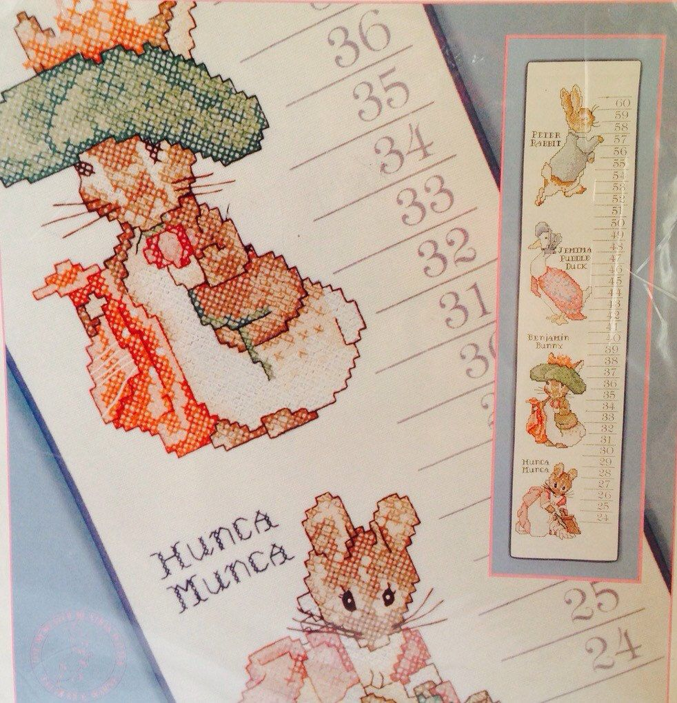 Beatrix Potter Growth Chart Stamped Cross Stitch Baby Collection New