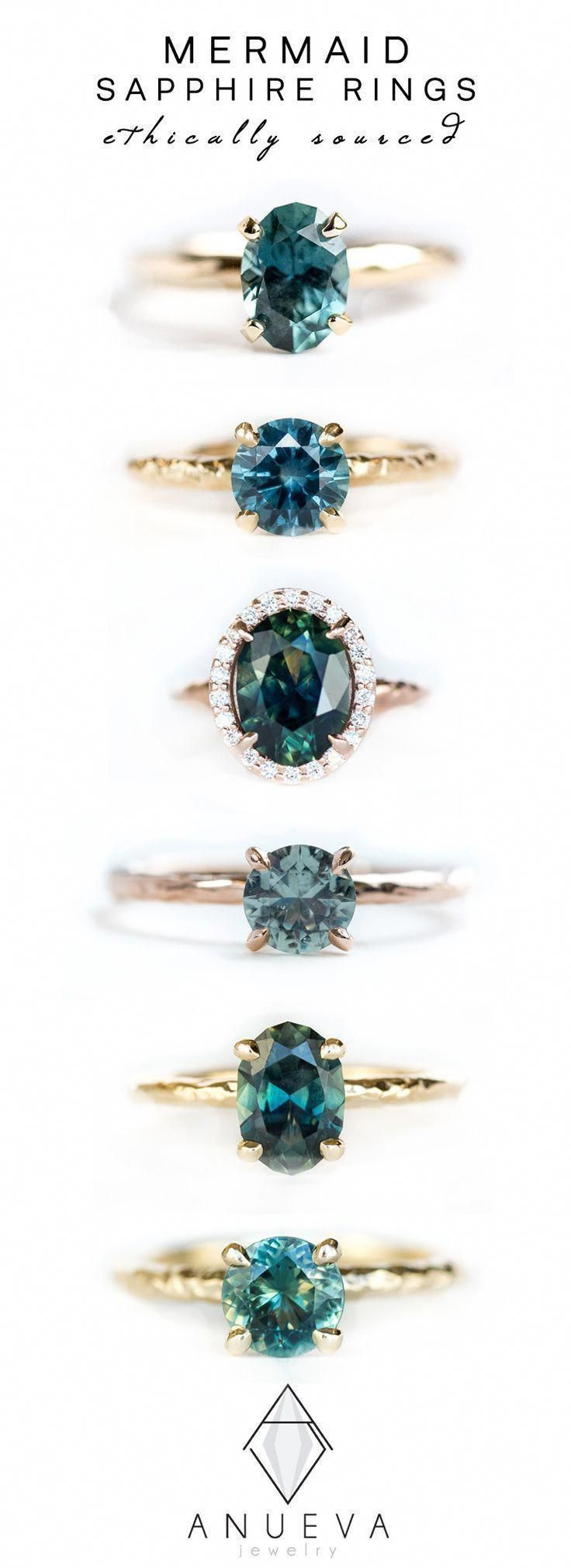 Blue Teal Mermaid Sapphire Rings in Yellow & Rose Gold by Anueva Jewelry #sapphirering #engagementring #alternativeengagementring #cushionengagementring