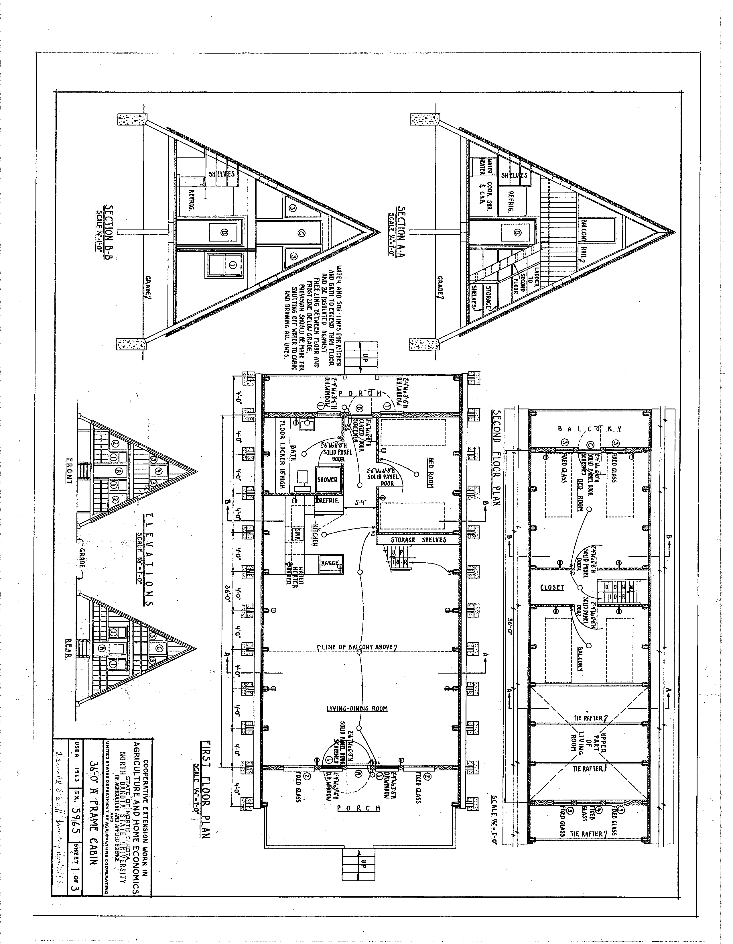 Free A Frame Cabin Plans Blueprints Construction Documents | SDS Plans