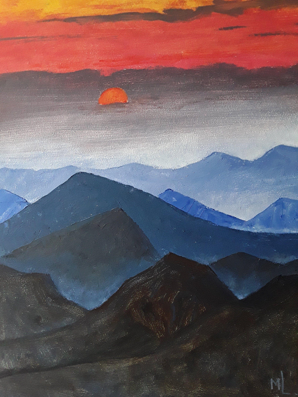 Mountain Painting Sunset Mountain Art Mountain Etsy Sunset Painting Sunset Wall Art Sunset Art