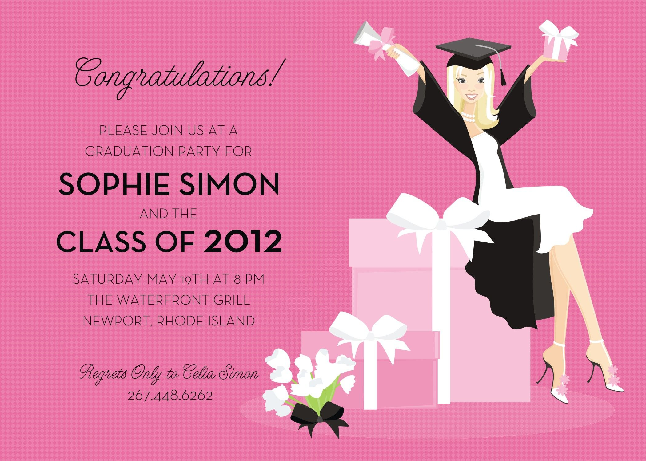 this invitation features a stylish grad girl sitting on a decorative box holding up her diploma