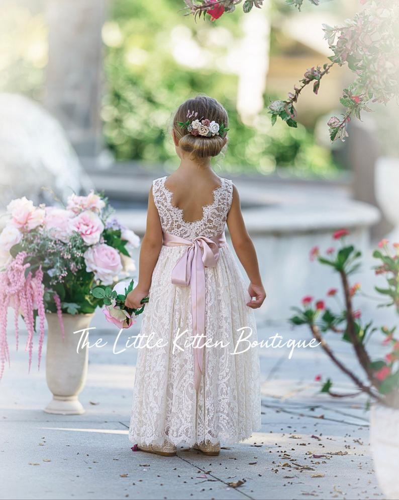 Bohemian flower girl dress White lace flower girl dress | Etsy