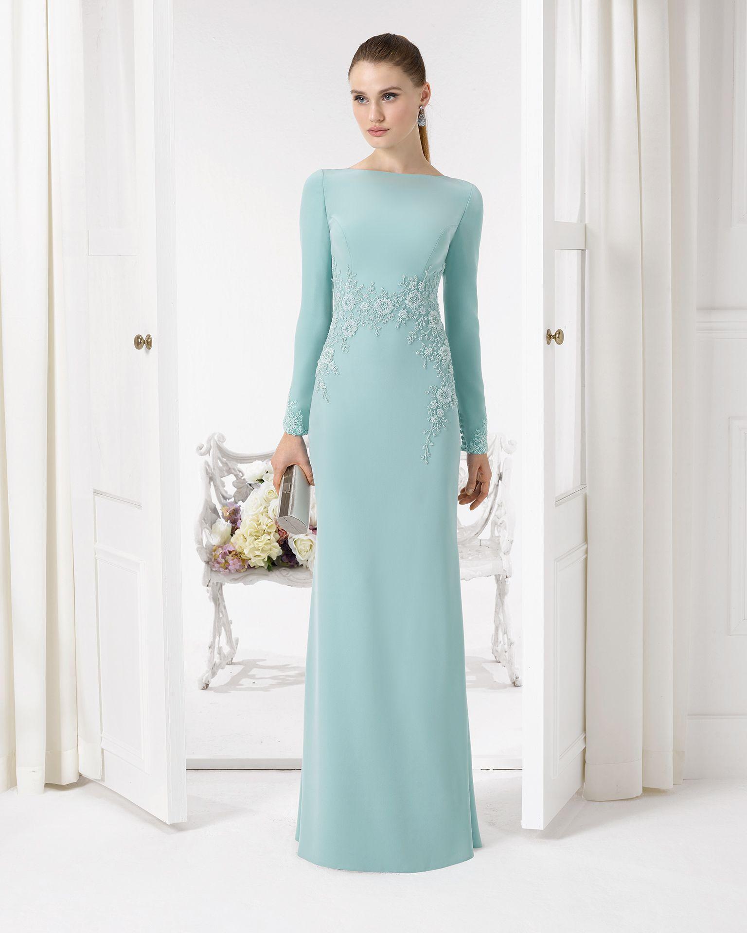 Vestido color menta con manga larga y detalles en la cintura. Código ...