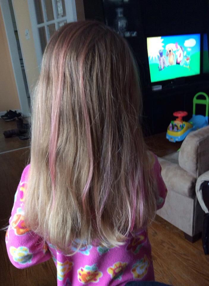 Baby Pink Highlights In A Little Girls Hair Pink Highlights Little Girl Hairstyles Girl Hairstyles