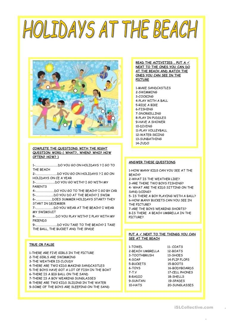 HOLIDAYS AT THE BEACH | Reading comprehension activities ...