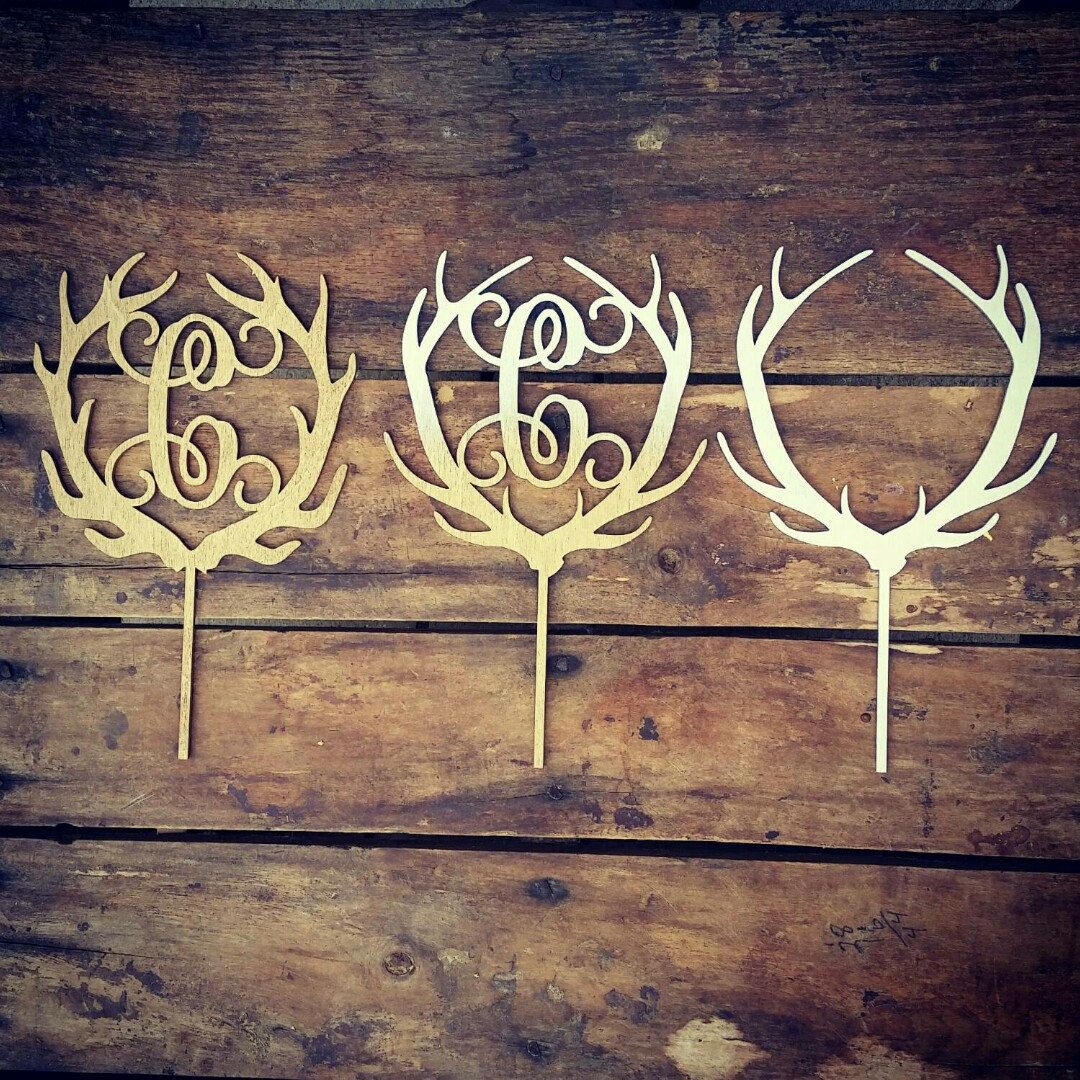 Antler cake topper rustic wedding cake topper buck and doe wedding