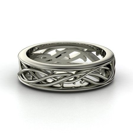 Men S 14k White Gold Ring Vine Band Gemvara Elegant And Manly Alternative To A