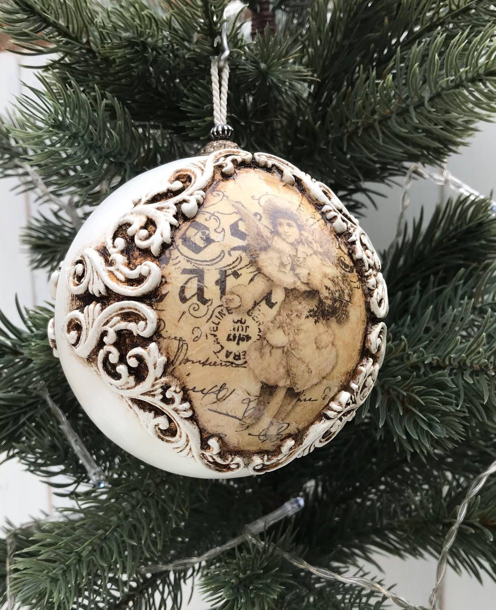 Vintage Shabby Chic Christmas Ornament Decoration Bauble By Littlethingsofjo On E Christmas Ornaments Shabby Chic Christmas Ornaments Chic Christmas Decor