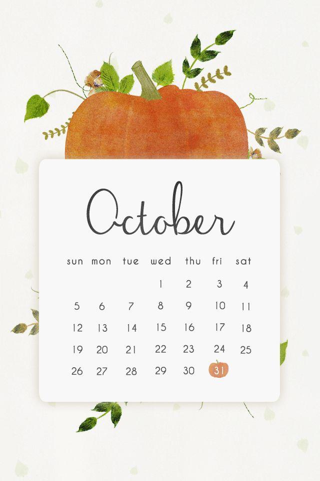 October Calendar Wallpaper Iphone : Pumpkin october calendar iphone phone background lock