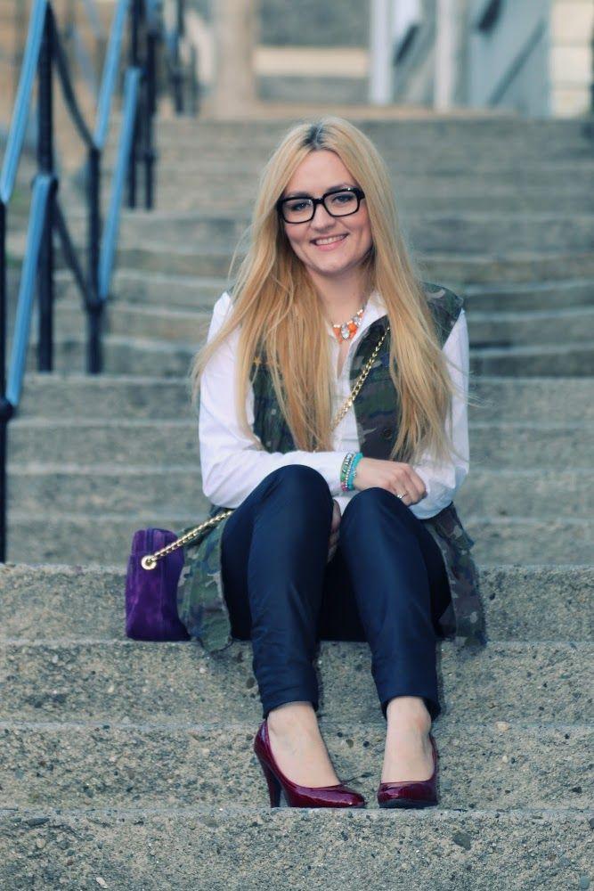 Polished Camo: black jeans- Vero Moda, camo vest- brave soul, white shirt- Penneys, red pumps- ShoerRack, crossbody bag- Windsmoor, bracelets- Strike a Pose Jewellelry, glasses- Firmoo.com, bow brooch- Shoe Berry