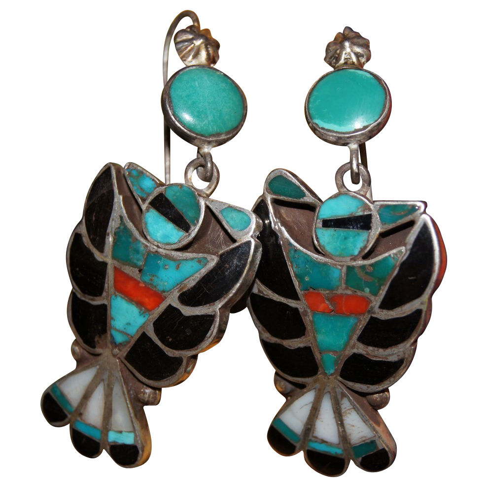 Frank Vacit Zuni Inlay Earrings