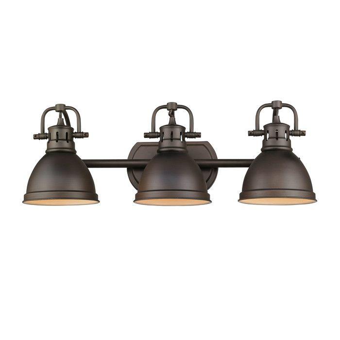 Golden Lighting Duncan Rubbed Bronze Three Light Vanity Fixture On