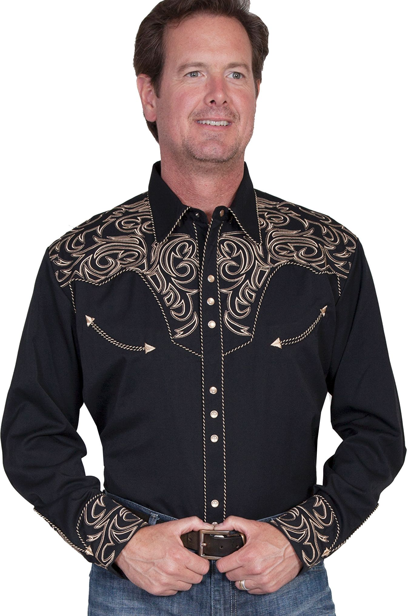 e3bcfecc93b5 This Mens Scully Tan Embroidered Black Western Shirt is a great cowboy shirt  for a rodeo or horse show with sizes up to 4XL