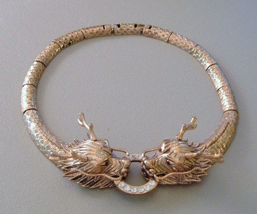 Vintage Collar Necklace Gold Big Dragon Heads Oriental Runway Bold