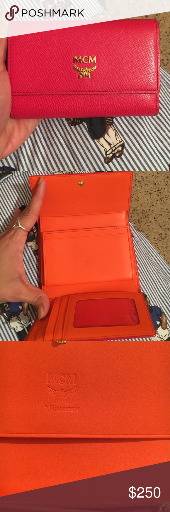 f3f4110e33b MCM wallet Great condition and authentic Beautiful the wallet is pink  outside an orange inside tv 350 mcm Other