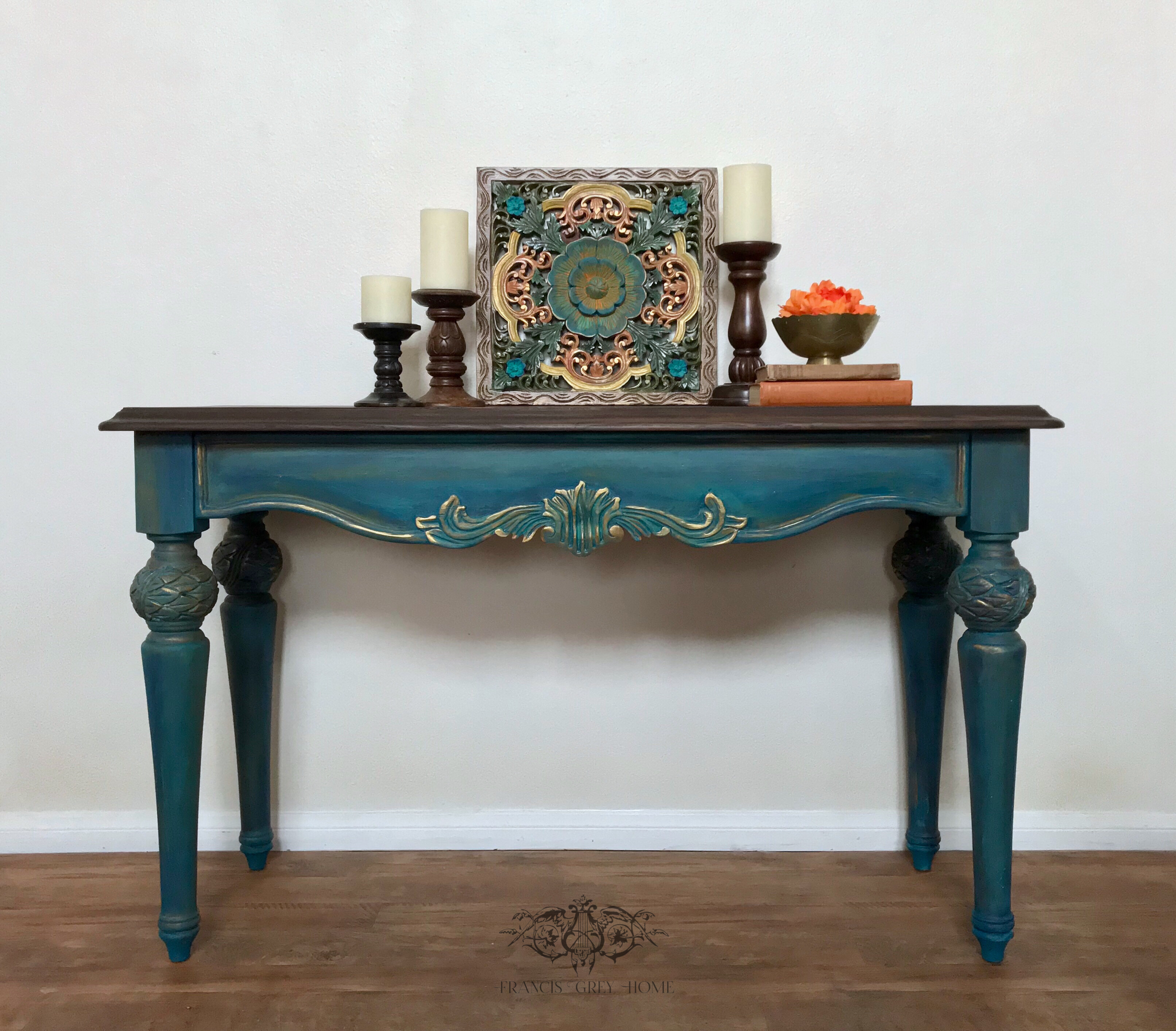 Boho Entry Table Rustic Entry Table Chalk Paint Entry Table Color Blending Carved Dia De Los Muertos Blending Rustic Entry Table Entry Table Rustic Entry