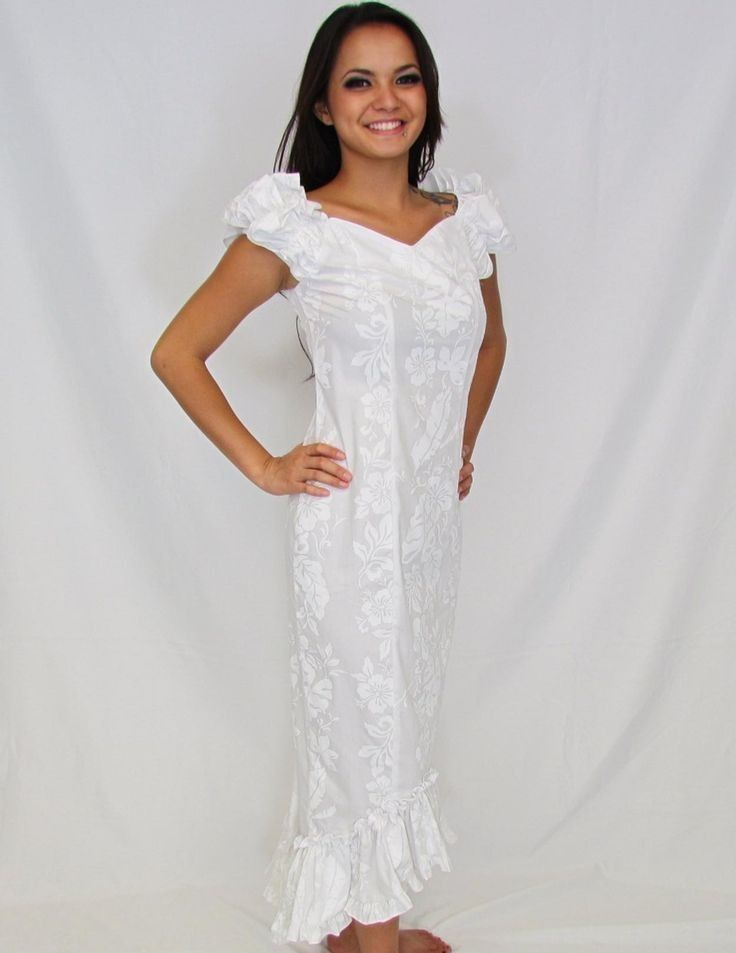New white wedding fishtail honolulu dress hawaii muumuu for Hawaiian dresses for weddings