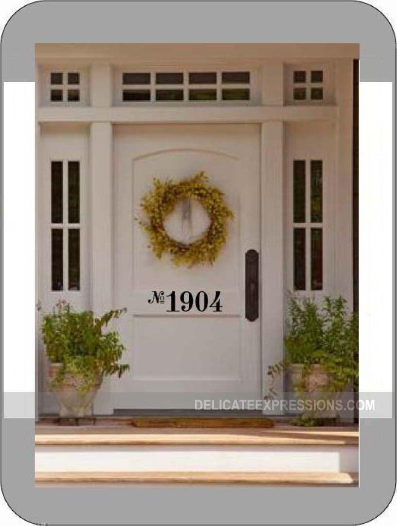 Front Door Number Decal   Vinyl Number Door Decal   Custom House Number  Decal   Front