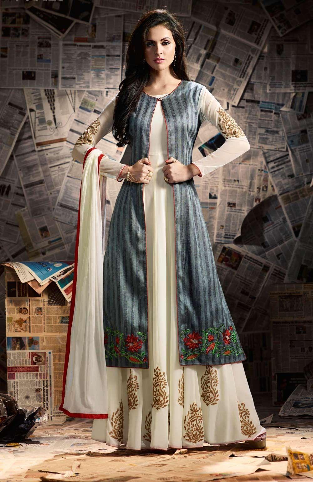 Cream Georgette Anarkali Suit With Long Banarasi Silk Jacket Koti