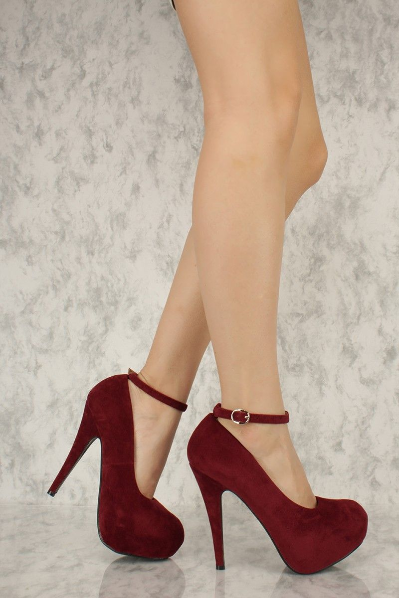 c3000d7a3be Burgundy Ankle Strap Round Closed Toe Platform Pump High Heels Faux Velvet  - https