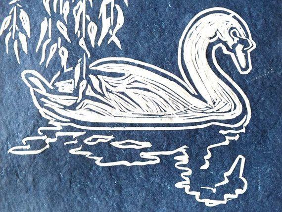 Swan - linocut - Alison Savic, U.K.